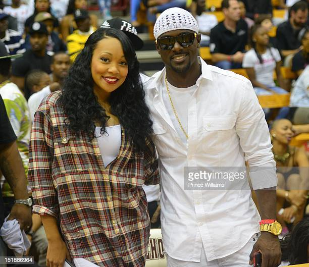 Monica and Lance Gross attend Celebrity Basketball Game Team Luda Vs Team Hart at Forbes Arena on September 2 2012 in Atlanta Georgia