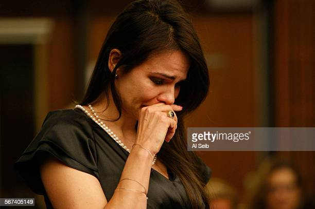 SAN FERNANDO CA JUNE 18 2014 Monica Andreny weeps as she makes a victim impact statement Wednesday June 18 in San Fernando courtroom where he husband...