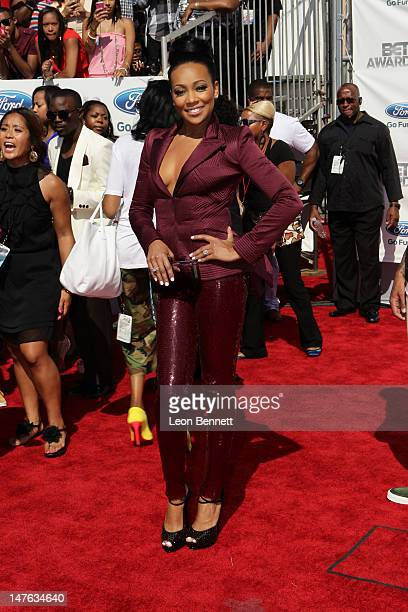 Monica arrives at the 2012 BET Awards Red Carpet at The Shrine Auditorium on July 1 2012 in Los Angeles California