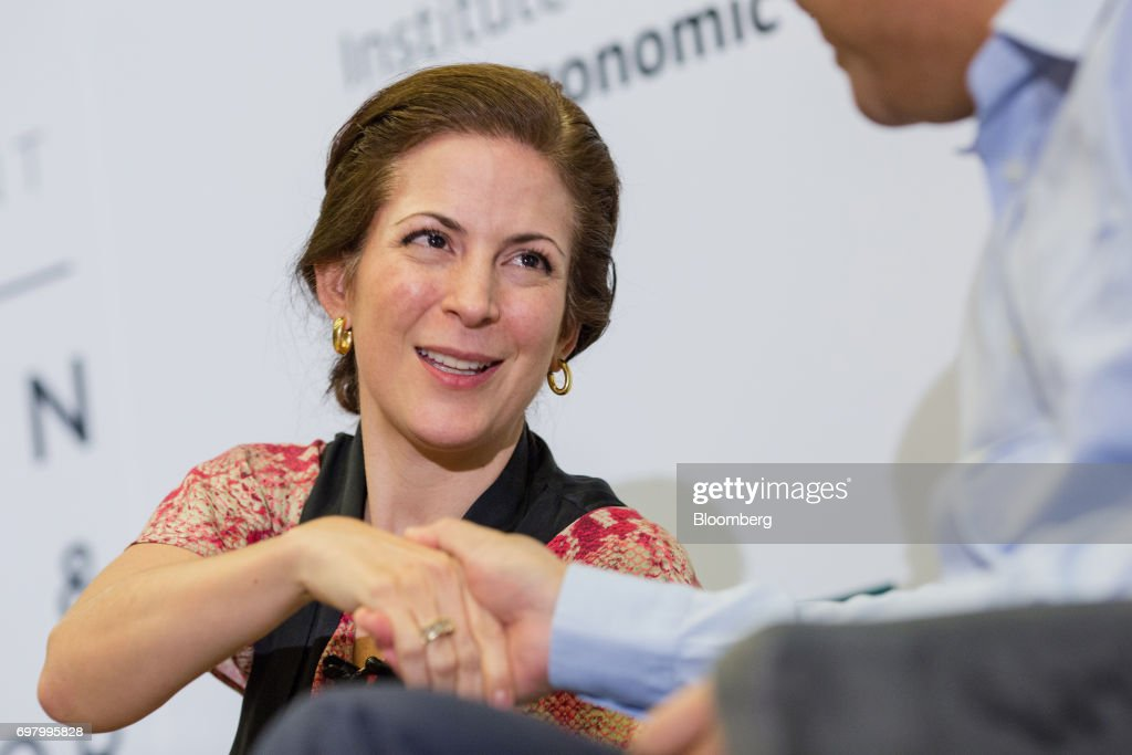 Monica Aspe, Mexico's permanent representative of the Organization for Economic Cooperation and Development (OECD), greets a fellow speaker during the International Economic Association (IEA) World Congress event in Mexico City, Mexico, on Monday, June 19, 2017. The theme of the congress is Globalization, Growth and Sustainability. Photographer: Brett Gundlock/Bloomberg via Getty Images