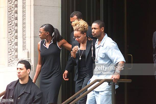 Monica at R B singer Aaliyah's memorial service at St Ignatius Loyola Roman Catholic Church in New York City 8/31/2001 Photo Evan Agostini/Getty...