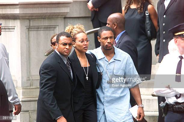 Monica at RB singer Aaliyah's funeral procession arrives at St Ignatius Loyola Roman Catholic Church in New York City 8/31/2001 Photo Evan...