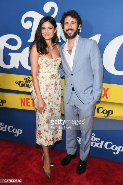 Monica Barbaro and Josh Groban attend the New York Premiere of Netflix's Original Series The Good Cop at AMC Loews 34th Street 14 on September 21...