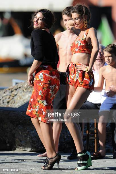 Monica Bellucci and Bianca Balti sighting on the set of a Dolce Gabbana commercial on October 21 2011 in Portofino Italy
