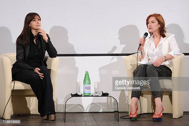 Monica Bellucci and Deborah Young attend the 'Campus Taormina Special' Monica Bellucci Meets The Students during the 57th Taormina Film Fest 2011 on...