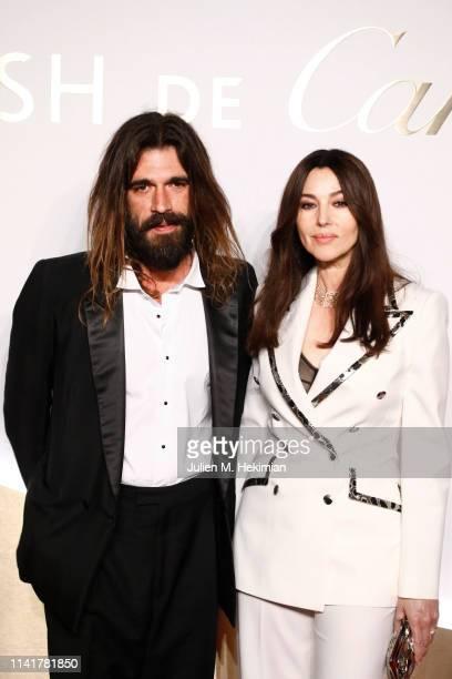 Monica Bellucci and her companion Nicolas Lefebvre attend the Clash De Cartier Launch Photocall At La Conciergerie In Paris on April 10 2019 in Paris...