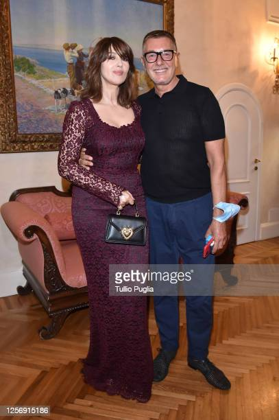 Monica Bellucci and Stefano Gabbana attend the red carpet of the closing night of the Taormina Film Festival on July 18 2020 in Taormina Italy