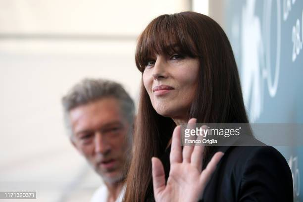 """Monica Bellucci and Vincent Cassel attend """"Irreversible"""" photocall during the 76th Venice Film Festival at Sala Grande on August 31, 2019 in Venice,..."""