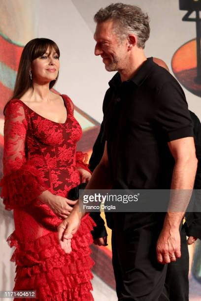 """Monica Bellucci and Vincent Cassel attend the """"Irreversible"""" Red Carpet during the 76th Venice Film Festival at Sala Grande on August 31, 2019 in..."""