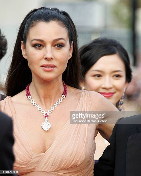 Monica Bellucci and Ziyi Zhang during 2006 Cannes Film Festival Palme D'Or Arrivals at Palais des Festivals in Cannes France