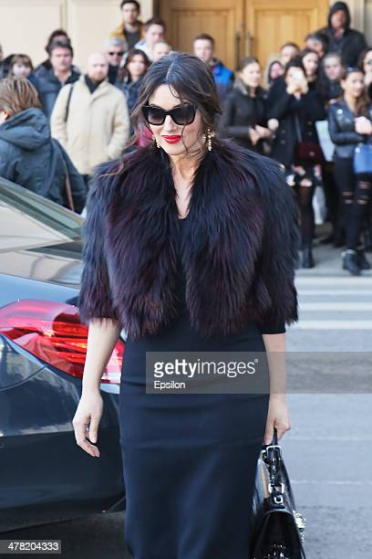 Monica Bellucci arrives to the Dolce Gabbana shop at TSUM on March 12 2014 in Moscow Russia