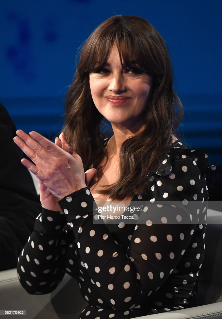 Monica Bellucci attends 'Che Tempo Che Fa' tv show at Rai Milan Studios on May 7, 2017 in Milan, Italy.