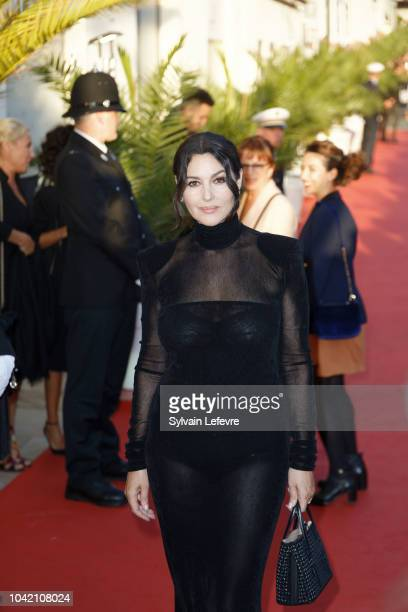 Monica Bellucci attends red carpet of Dinard Film festival opening ceremony on September 27, 2018 in Dinard, France.