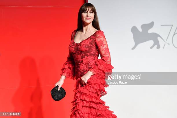 """Monica Bellucci attends the """"Irreversible"""" Red Carpet during the 76th Venice Film Festival at Sala Grande on August 31, 2019 in Venice, Italy."""