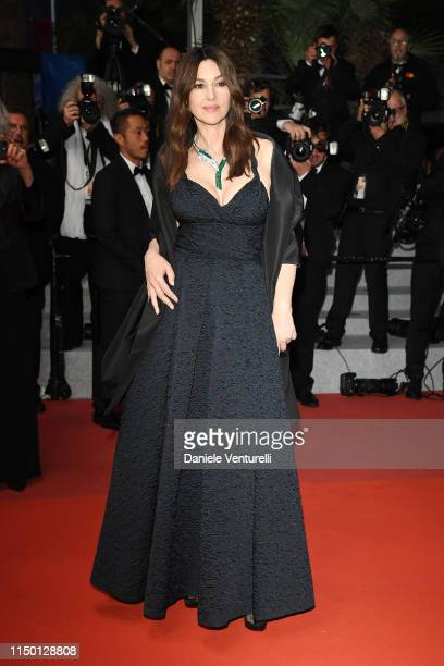 "Monica Bellucci departs the screening of ""Les Plus Belles Annees D'Une Vie"" during the 72nd annual Cannes Film Festival on May 18, 2019 in Cannes,..."