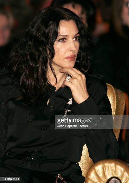 Monica Bellucci during Paris Fashion Week Haute Couture Spring/Summer 2005 Dior Arrivals and Front Row at Polo de Paris in Paris France
