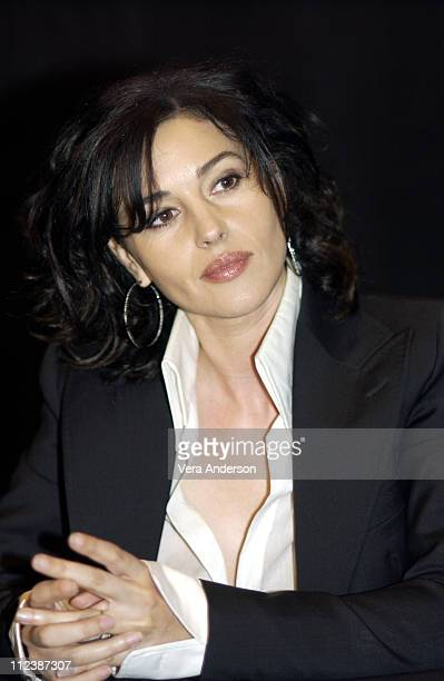 Monica Bellucci during 'The Matrix Reloaded' Press Conference with Keanu Reeves Jada Pinkett Smith CarrieAnne Moss Laurence Fishburne Monica Bellucci...