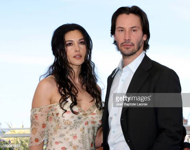 Monica Bellucci Keanu Reeves during 2003 Cannes Film Festival Matrix Reloaded Photo Call at Palais des Festivals in Cannes France