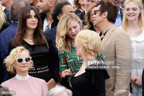 Monica Bellucci Kirsten Dunst Benicio del Toro Elle Fanning and Nicole Kidman attend the 70th Anniversary photocall during the 70th annual Cannes...