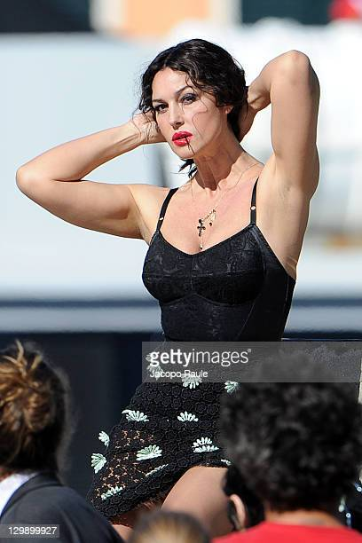Monica Bellucci sighting on the set of a Dolce & Gabbana commercial on October 21, 2011 in Portofino, Italy.