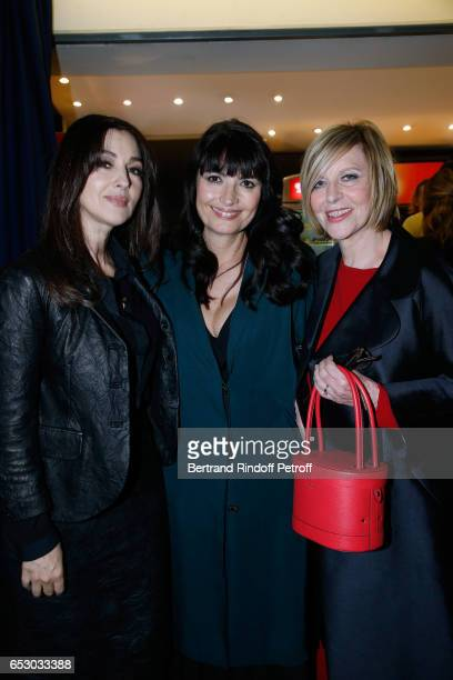Monica Bellucci Valerie Perrin and Chantal Ladesou attend the 'Chacun sa vie' Paris Premiere at Cinema UGC Normandie on March 13 2017 in Paris France