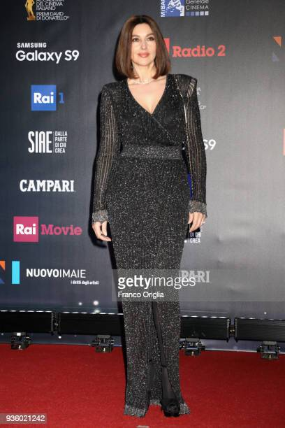 Monica Bellucci walks a red carpet ahead of the 62nd David Di Donatello awards ceremony on March 21 2018 in Rome Italy