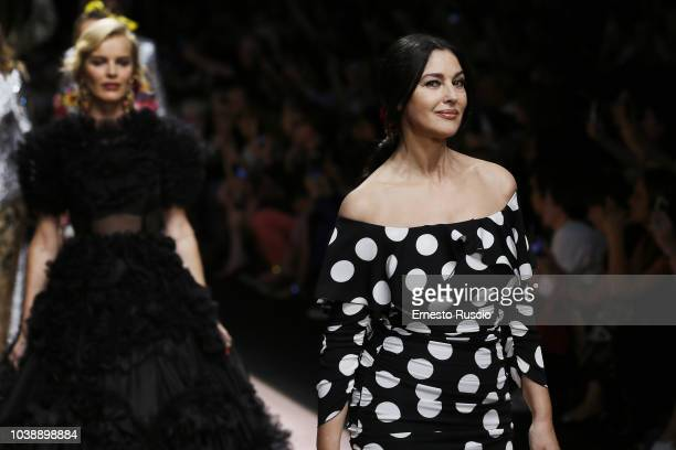 Monica Bellucci walks the runway at the Dolce Gabbana show during Milan Fashion Week Spring/Summer 2019 on September 23 2018 in Milan Italy