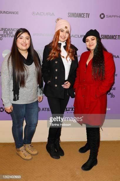 Monica Betancourt Kailei Lopez and Irlanda Moreno attend the 2020 Sundance Film Festival La Leyenda Negra Premiere at Egyptian Theatre on January 27...