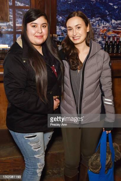 Monica Betencourt and Patricia Vidal Delgado of 'La Leyenda Negra' attend the Pizza Hut x Legion M Lounge during Sundance Film Festival on January 24...
