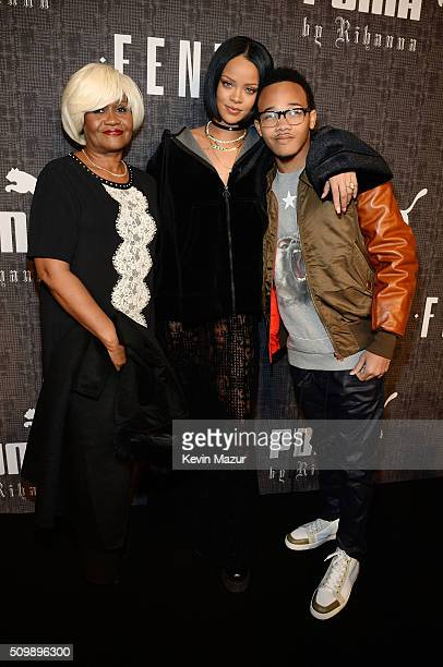 Monica Braithwaite Rihanna and Rajad Fenty attend the FENTY PUMA by Rihanna AW16 Collection during Fall 2016 New York Fashion Week at 23 Wall Street...