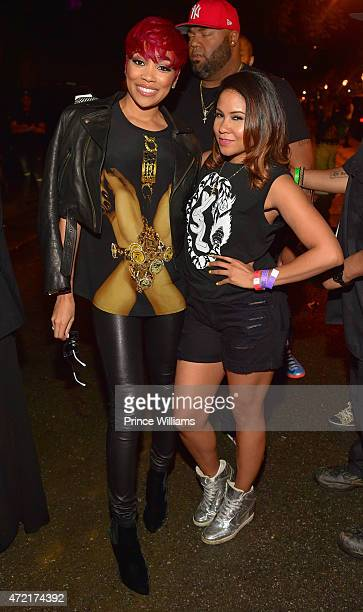 Monica Brown and Angela Yee attend StreetzFest2k15 at Masquerade Music Park Historic Fourth Ward Park on April 18 2015 in Atlanta Georgia