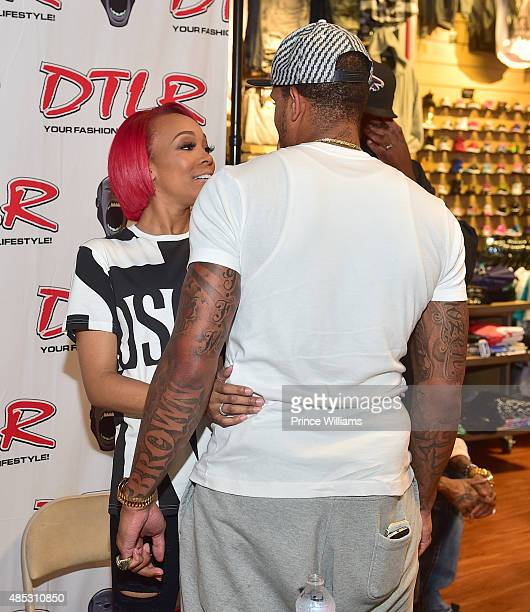Monica Brown and Shannon Brown Attend Monica's Meet and Greet Shocasing Her Single 'Just Right for Me' at DTLR at Cramp Creek on August 26 2015 in...