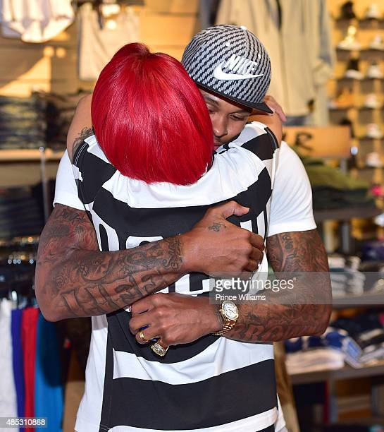Monica Brown and Shannon Brown attend Monica's meet and greet showcasing her single 'Just Right for Me' at DTLR at Cramp Creek on August 26 2015 in...