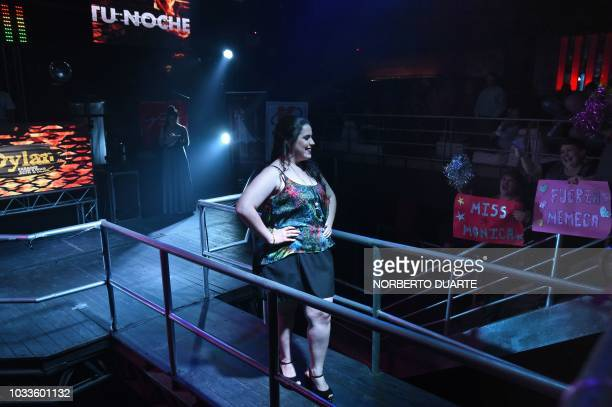 Monica Canete parades during the street clothes competition of the Miss Gordita beauty contest in Asuncion on September 14 2018 Eleven plussize women...