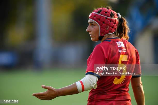 Monica Castelo of Spain gestures during the Rugby World Cup 2021 Europe Qualifying match between Spain and Ireland at Stadio Sergio Lanfranchi on...