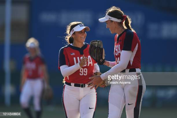Monica Cecilia Abbott and Delaney Lyn Spaulding of United States speak during their Playoff Round match between United States and Australia at ZOZO...