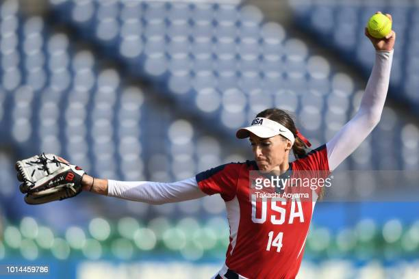 Monica Cecilia Abbott of United States pitches against Australia during their Playoff Round at ZOZO Marine Stadium on day nine of the WBSC Women's...