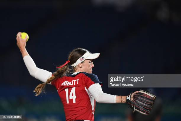 Monica Cecilia Abbott of United States pitches against Japan during their Playoff Round match at ZOZO Marine Stadium on day ten of the WBSC Women's...