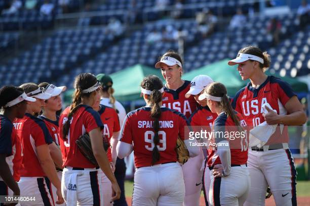 Monica Cecilia Abbott of United States speaks to her teammates during the Playoff Round match between United States and Australia at ZOZO Marine...