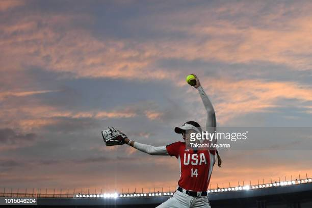 Monica Cecilia Abbott of United States warms up prior to the Playoff Round match between Japan and United States at ZOZO Marine Stadium on day ten of...