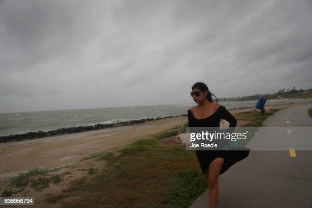Monica Chavez waits for approaching Hurricane Harvey on August 25 2017 in Corpus Christi Texas Hurricane Harvey has intensified into a hurricane and...