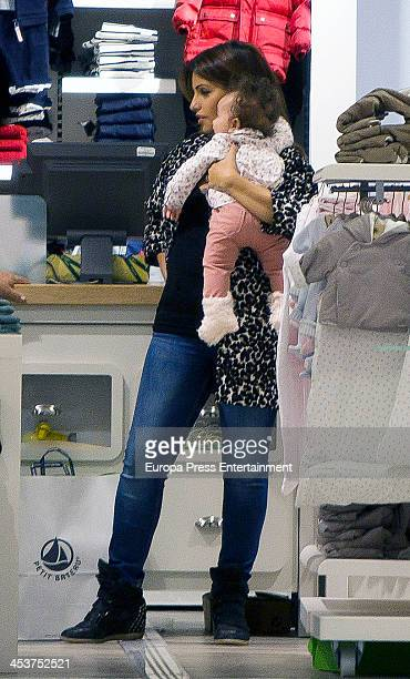 Monica Cruz and her daughter Antonella Cruz are seen going for shopping on December 4 2013 in Madrid Spain