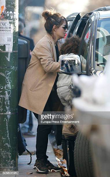 Monica Cruz and her daughter Antonella Cruz are seen on February 4 2016 in Madrid Spain