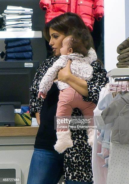 Monica Cruz and her daughter Antonella Cruz are seen shopping on December 4 2013 in Madrid Spain