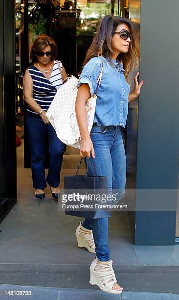 Monica Cruz and her mother Encarna Sanchez are sighting in Madrid on July 9 2012 in Madrid Spain