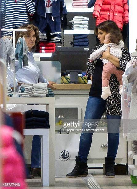 Monica Cruz her daughter Antonella Cruz and her mother Encarna Sanchez are seen shopping on December 4 2013 in Madrid Spain