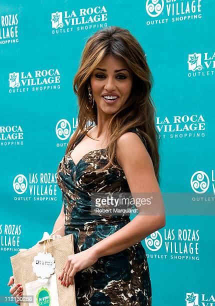 Monica Cruz presents an Eco Bag 'Be Green Be Chic' at the La Roca Village outlet shopping on April 13 2011 in Barcelona Spain