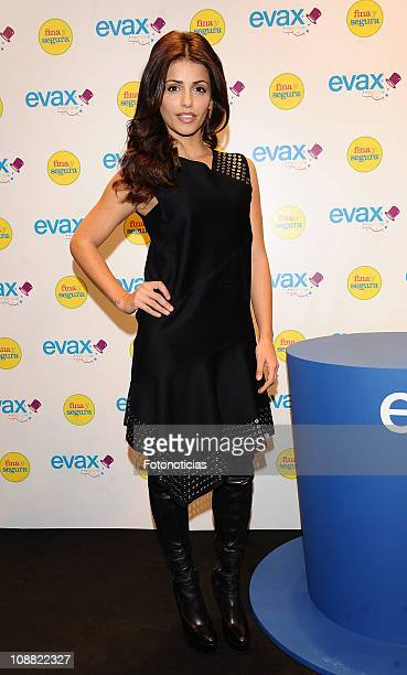 Monica Cruz promotes the new 'Evax Fina y Segura' at the Infanta Isabel Theatre on January 14 2010 in Madrid Spain