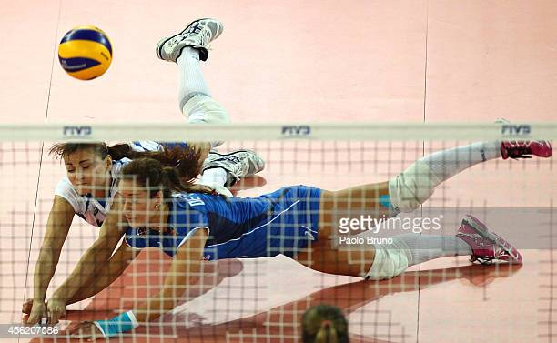 Monica De Gennaro and Antonella Del Core of Italy in action during the FIVB Women's World Championship pool A match between Italy and Germany at...