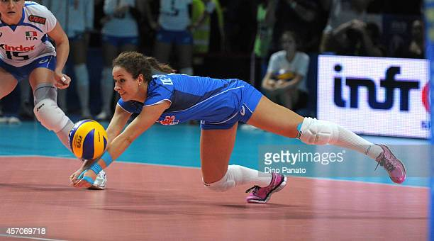 Monica De Gennaro of Italy makes a save during the FIVB Women's World Championship semifinal match between Italy and China on October 11 2014 in...